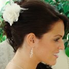 Elegant White Bridal Wedding  Flower Fascinator With Feathers!