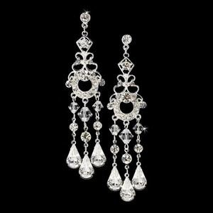 Silver Plated Crystal Bridal & Prom Chandelier Earrings