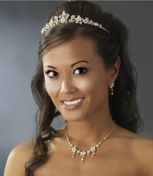 GOLD Plated IVORY FLORAL BRIDAL TIARA & JEWELRY SET!
