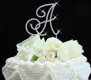 Silver Plated Crystal Initial Wedding Cake Topper