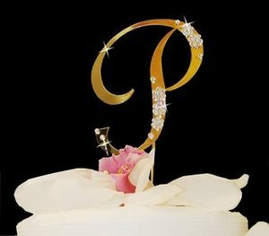 14K Gold and Crystal Initial Wedding Cake Topper