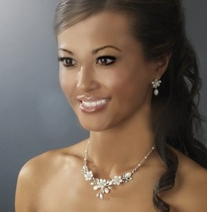 Frosted Crystal Floral Bridal Wedding Jewelry Set for the Bride