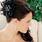 NEW! BLACK BRIDAL FLOWER FEATHER FASCINATOR with CRYSTALS - Wedding, Prom!