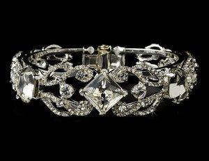 Silver Plated Crystal Rhinestone Bridal Wedding Bracelet