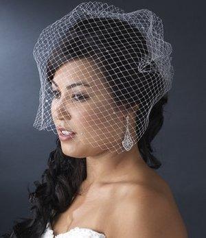 Birdcage Wedding Veil with Scattered Rhinestones