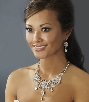 Vintage Inspired Bold Crystal Silver Plated Bridal Wedding Jewelry Set