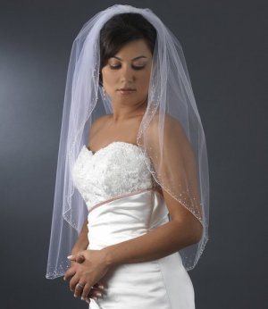 Crystal Beaded Fingertip Length Bridal Wedding Veil in Ivory