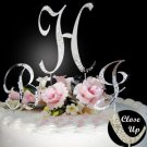 Silver Plated Crystal Monogram Wedding Cake Topper