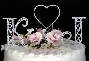 NEW! Crystal Roman Initial & Heart Wedding Cake Topper