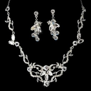 NEW! Stunning Silver Plated Crystal Bridal Jewelry Set!