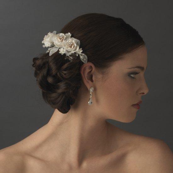 Elegant Ivory and Rum Pink Rose Bridal Wedding Hair Flower Comb