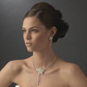 Freshwater Pearl & Rhinestone Bridal Wedding Jewelry Set