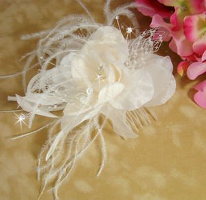 Ivory and Rum Pink Bridal Feather Wedding Fascinator with Crystals