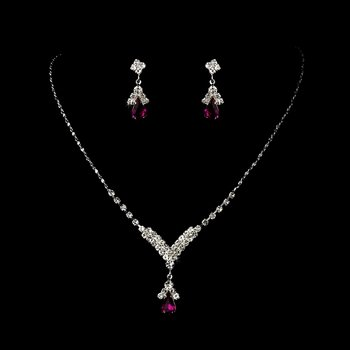 5 Sets Fuchsia Crystal Drop Bridesmaid Jewelry