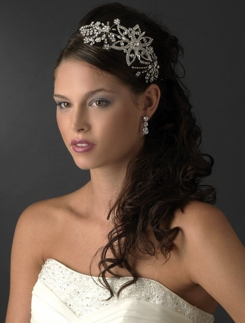 Bold Vintage Inspired Silver Side Accent Rhinestone Bridal Prom Headband Tiara