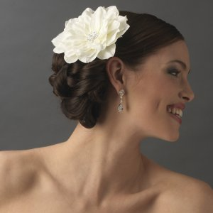 Diamond White Jeweled Wedding Hair Flower