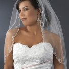 White Elbow Length Wedding Bridal Wedding Veil with Beaded Silver Embroidery Edge