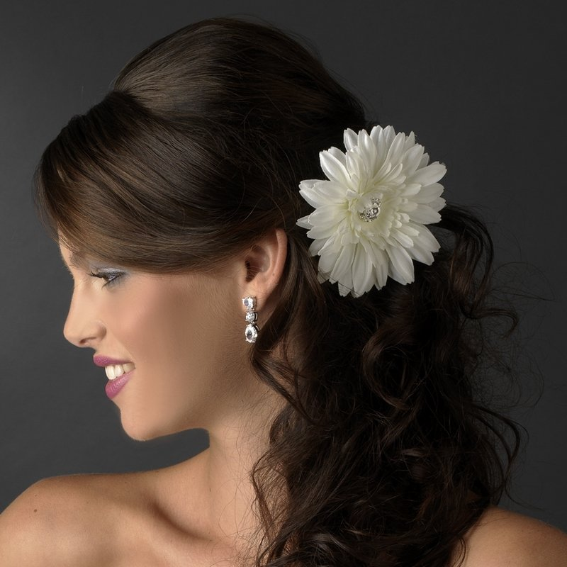 NEW! Diamond White Starburst Dahlia Rhinestone Bridal Hair Flower