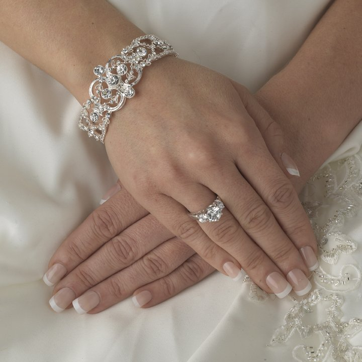 New! Vintage Inspired Silver Bridal Wedding Bracelet