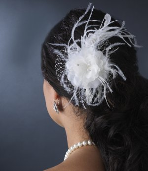 NEW! White Bridal Feather Fascinator Comb with Crystals White or Ivory