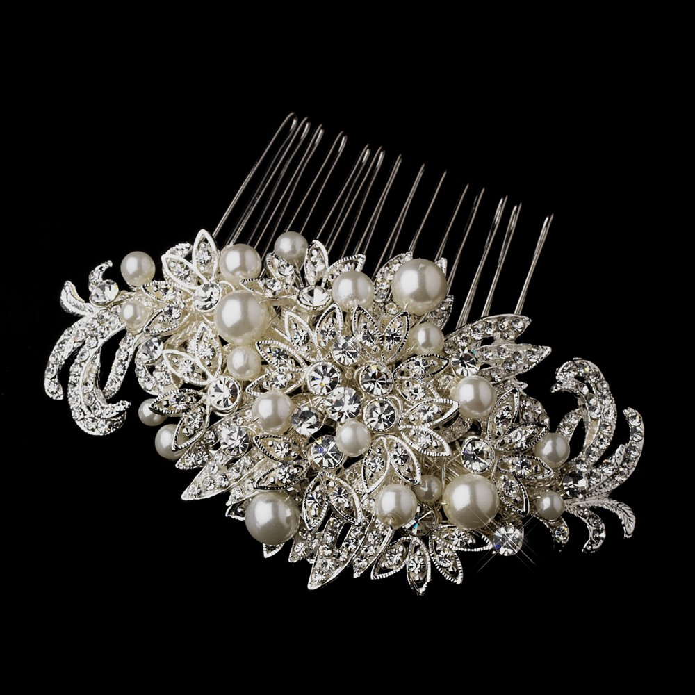 Stunning White Pearl and Crystal Floral Wedding  Bridal Hair Comb