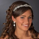 Ornate Vintage Inspired Silver Plated Crystal Wedding or Prom Headband