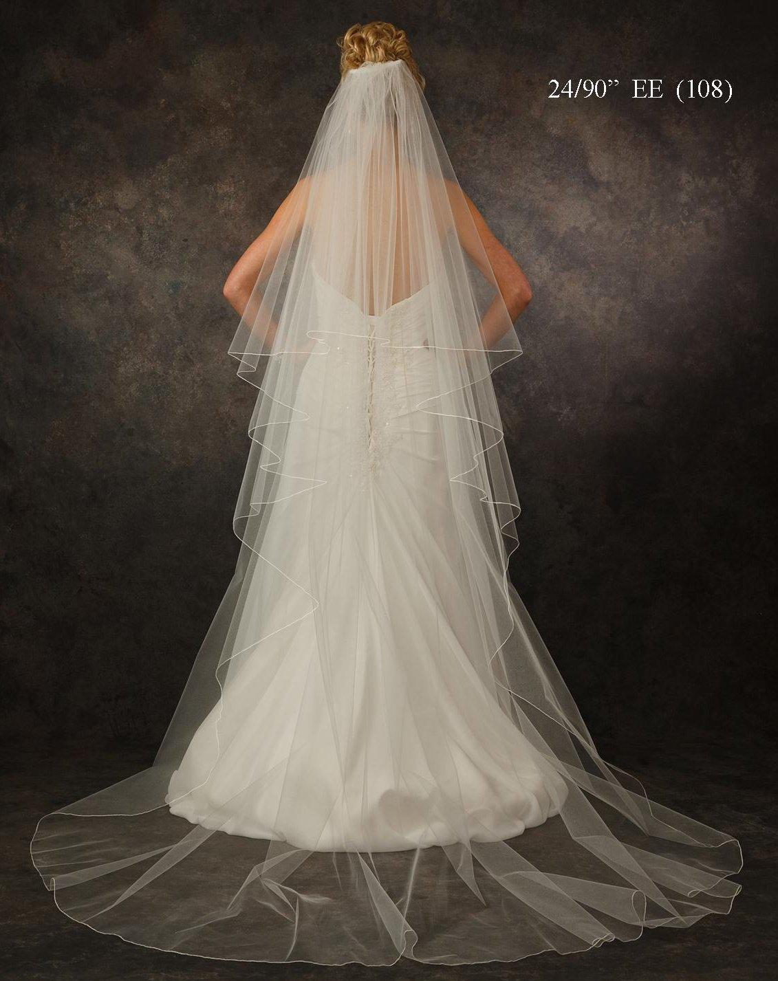 Two Layer Chapel Length Wedding Bridal Veil  V5311 in White - Custom made