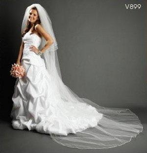 NEW Satin Cord 2 Tier Diamond White Cathedral Wedding Bridal Veil