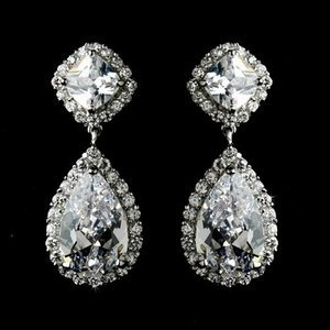 New! fabulous Silver Plated Cubic Zirconia CZ Bridal Wedding Prom Pageant Earrings