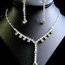 6 Sets Peridot Green Rhinestone Bridesmaid Jewelry Sets