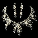 NEW! Freshwater Pearl and Crystal Wedding Jewelry Bridal Necklace  Set