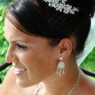 Elegant Silver Plated Crystal and Pearl Floral Bridal Wedding Hair Comb
