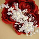 Silver Plated Freshwater Pearl Crystal Bridal Wedding Comb