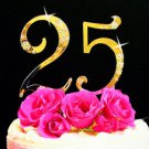 Gold Plated Crystal Birthday and Anniversary Cake Topper 25