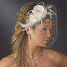 Double Flower, Rhinestone and Pearl Feather Bridal Fascinator and Birdcage Wedding Veil