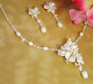 New! Keshi and Freshwater Pearl Floral Silver Plated Bridal Wedding Jewelry