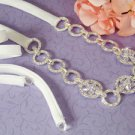 New White Ribbon Bridal Wedding or Prom Headband with Crystals and Rhinestones
