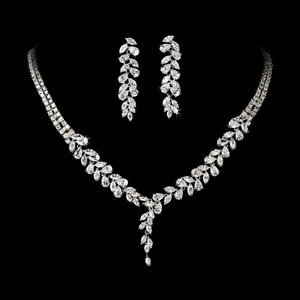 Silver Plated Cubic Zirconia Bridal Wedding Jewelry Prom Pageant Set!