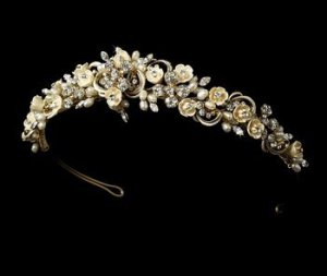 Gold Plated Freshwater Pearl and Porcelain Floral Bridal Wedding Tiara