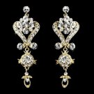 NEW Gold Plated Crystal Bridal Pageant Prom Wedding Earrings