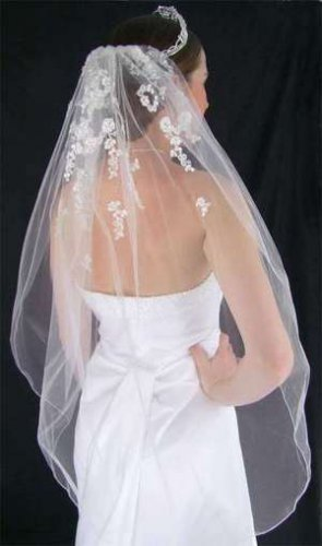 Romantic White Beaded Lace Fingertip Length Bridal Wedding Veil