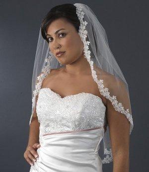 Elegant Ivory Elbow Length Beaded Emboidered Edge Bridal Wedding  Veil