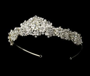 Elaborate Crystal and White Pearl Bridal Wedding Tiara