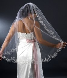 """Couture 42"""" Fingertip Length Wedding Bridal Veil with beautiful Beaded Embroidery"""
