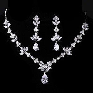 Sparkling Cubic Zirconia Bridal Wedding Prom Pageant Jewelry Set