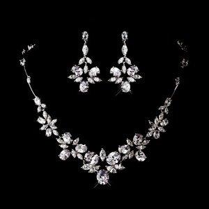 Stunning Silver Plated Cubic Zirconia Bridal Wedding Prom Jewelry Set