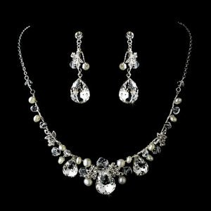 Silver Plated Rhinestone and  Pearl Bridal Wedding  Jewelry Set