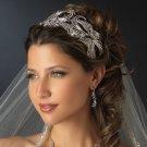 Glamorous Antique Silver Bold Royal Wedding Bridal Headband Rhinestone Tiara