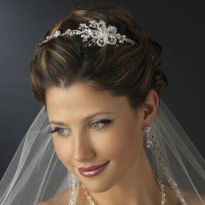 Crystal Side Accent Wedding Bridal Floral Headband Tiara