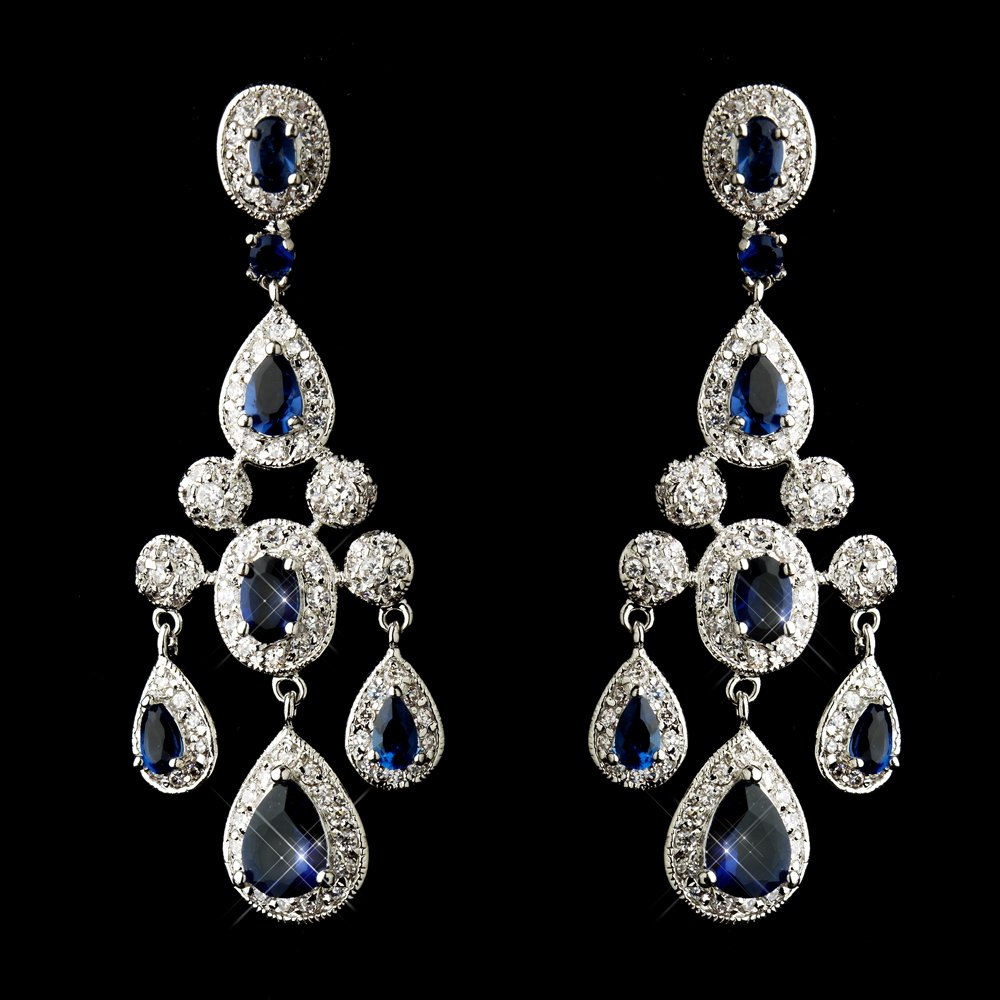 blue earrings for wedding sapphire blue cz antique silver wedding bridal 2049